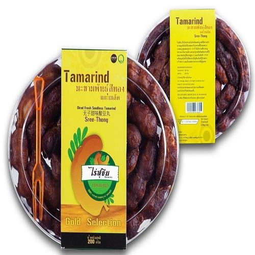 มะขามหวานพันธุ์สีทองแกะเมล็ด ทานเพลิน แกะเมล็ดพร้อมทาน (200 กรัม)