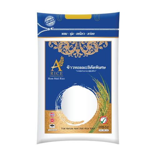 ข้าวหอมมะลิแท้ 100 เปอร์เซ็นต์ ตรา A-rice  (5 กก.) สีน้ำเงิน ซิปล็อก