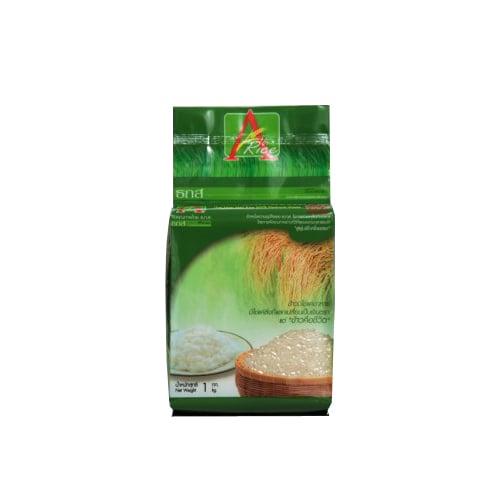 ข้าวหอมมะลิแท้ 100 เปอร์เซ็นต์ ตรา A-rice (1 กก.) สีเขียว