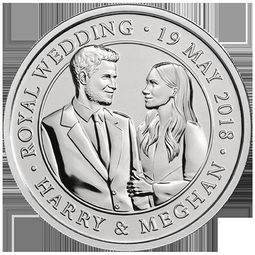 เหรียญโลหะผสมที่ระลึกพิธีเสกสมรสของเจ้าชายแฮรี่และพระคู่หมั้น