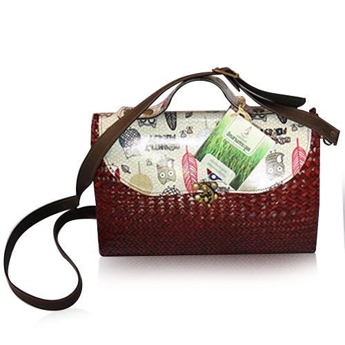 กระเป๋าถือกระจูดแนววินเทจ