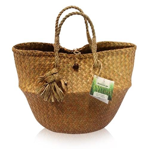 กระเป๋ากระจูดท้ายกลม สีธรรมชาติ