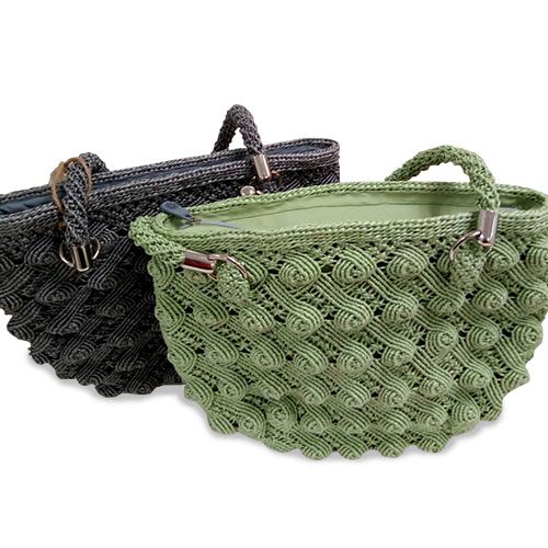 กระเป๋าหิ้วลายก้นหอย (สีเขียว)