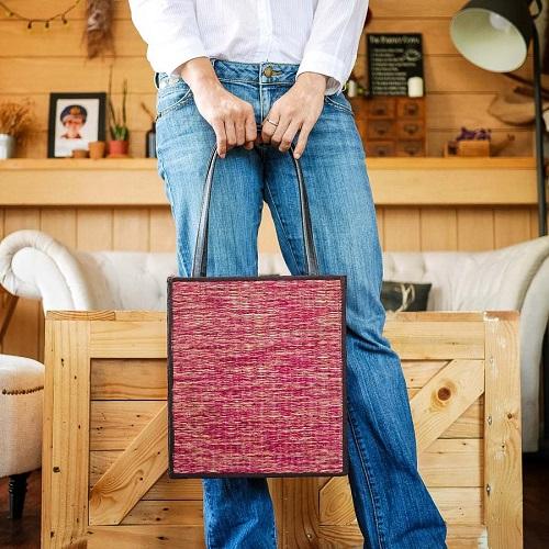 กระเป๋าเสื่อกกทรงสี่เหลี่ยม