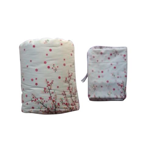 ผ้าห่มนวมฝ้ายแท้ 100% ขนาด 6 ฟุต ลายดอกซากุระ สีชมพูลายพื้น