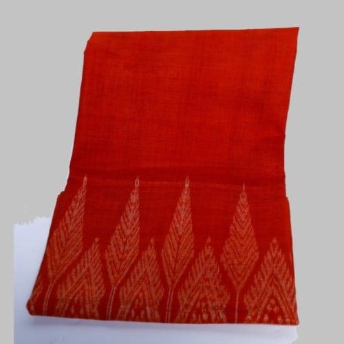ผ้าถุงไหม ลายบักเบง สีส้ม (ขนาดบรรจุ 1 ผืน) ต.ท่าม่วง อ.เสลภูมิ จ.ร้อยเอ็ด