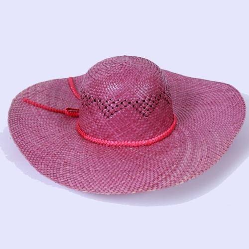 หมวกสุภาพสตรี สีม่วง สานจากต้นกก  ตำบลตาเป็ก อำเภอเฉลิมพระเกียรติ จังหวัดบุรีรัมย์