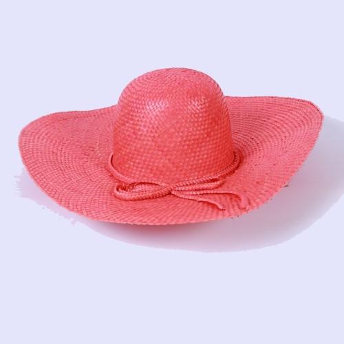 หมวกสุภาพสตรี สีบานเย็น ต้นกกสานด้วยมือ ชุมชน ต.ตาเป็ก อ.เฉลิมพระเกียรติ จ.บุรีรัมย์