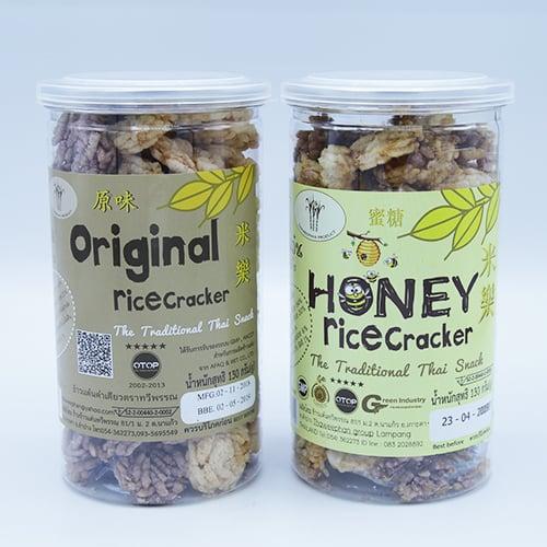 แพ็กคู่ ข้าวแต๋นรสดั้งเดิม และ รสน้ำผึ้ง 130 กรัม อย่างละ 1 กระป๋องพร้อมฝาดึง