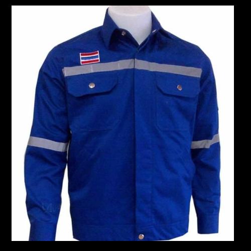 เสื้อ shop สีน้ำเงิน ติดแถบ (size S)