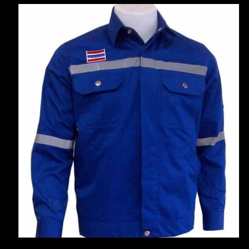 เสื้อ shop สีน้ำเงิน ติดแถบ (size M)