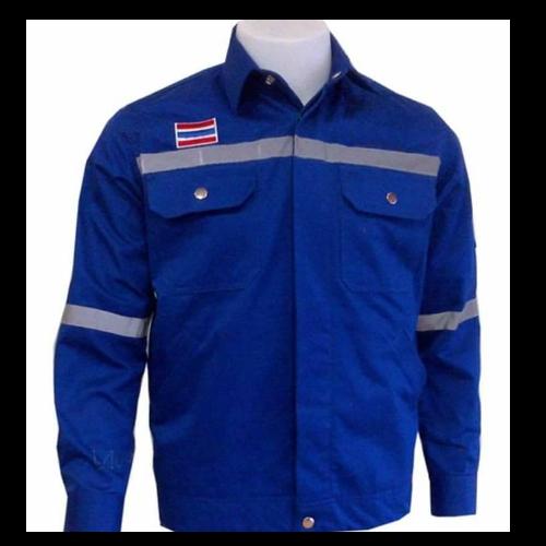 เสื้อ shop สีน้ำเงิน ติดแถบ (size L)