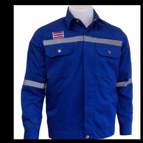 เสื้อ shop สีน้ำเงิน ติดแถบ (size XL)