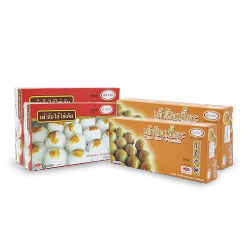 เต้าส้อไข่เค็ม (180 กรัม) 2 กล่อง และเต้าส้อเปี๊ยะ (140 กรัม) 2 กล่อง บ้านขนมศุภวัลย์