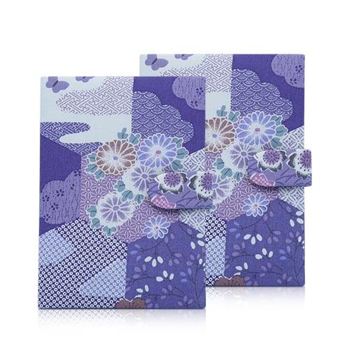 กระเป๋าพาสปอร์ต สีฟ้า ลายดอกไม้ 2 มีหู (2ใบ)