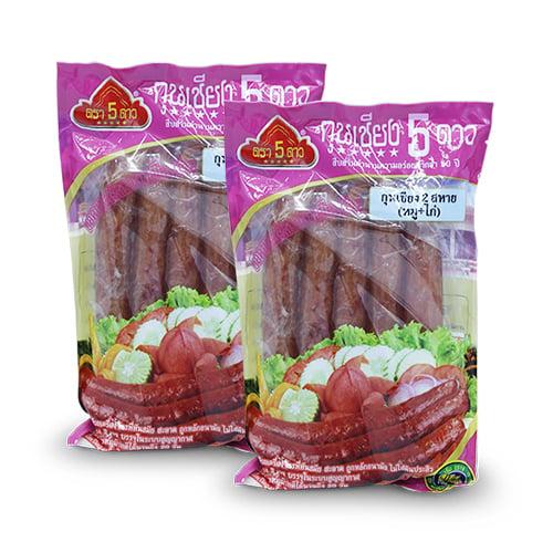 กุนเชียงสองสหาย หมูและไก่ ไม่ใส่สารกันเสีย อร่อย เหมาะกับทุกมื้อ 800 กรัม