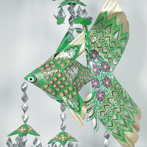 ปลาตะเพียนใบลาน ลูก 9 ลายพิกุล สีเขียว 1 ชุด