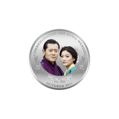 Royal Wedding King Tigme Khesas Namgyel Wangnhvck Pure Silver Coin