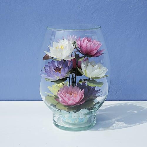 ดอกบัวสดอบแห้งในภาชนะแก้วทรงรักบี้ใหญ่