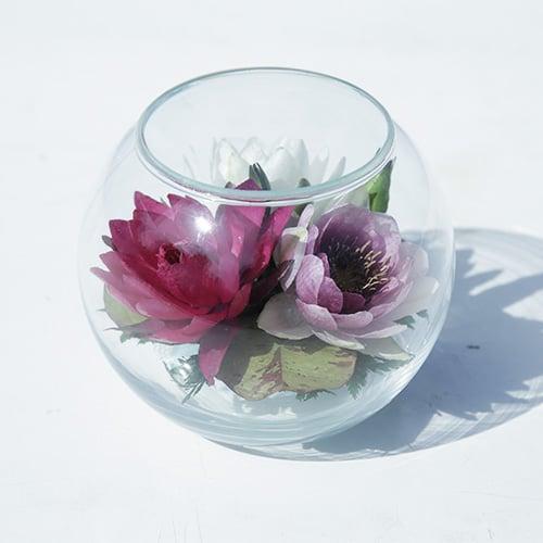ดอกบัวสดอบแห้งในภาชนะแก้ว FR 39