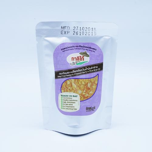กระเทียมแกะเปลือกเจียวในน้ำมันรำข้าว 40 กรัม 4 ถุง