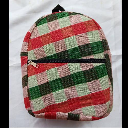 กระเป๋าเป้จิ๋วลายผ้าขาวม้า (เขียว-แดง)
