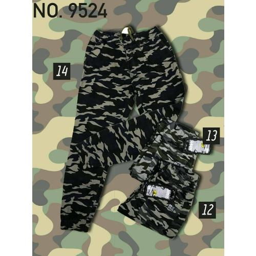 กางเกงขายาวขาจั๊มเอวยาวเชือกรอบ พื้นดำ ลายเขียว ไซส์ XL