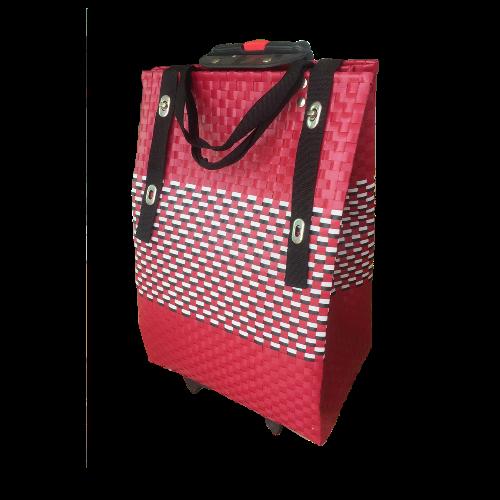 กระเป๋าล้อลากสานเส้นพลาสติก (ขนาดใหญ่ 26x38x55 cm.)
