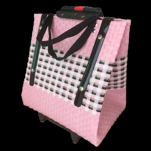 กระเป๋าล้อลาก สานเส้นพลาสติก (ขนาดเล็ก) 25x38x40 cm.