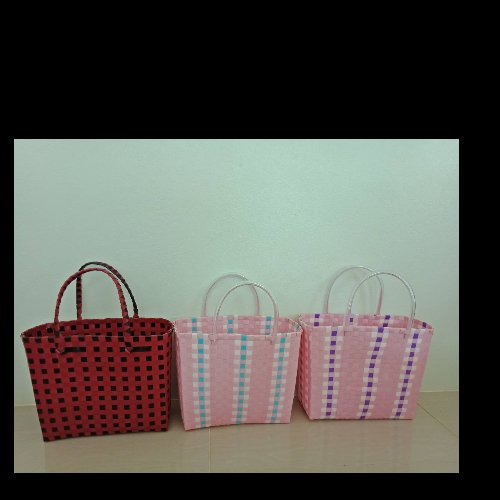 กระเป๋าสานเส้นพลาสติกบีบเหลี่ยม (13x31x25 cm.)