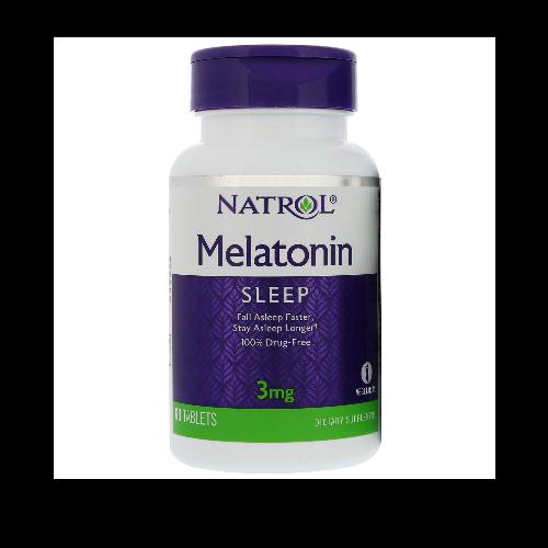 Natrol- อาหารเสริมช่วยการนอนหลับ ลดความเครียด Melatonin 3 mg. 60 Tablets Each(เมลาโทนิน 3 มก. 60 เม็ด)