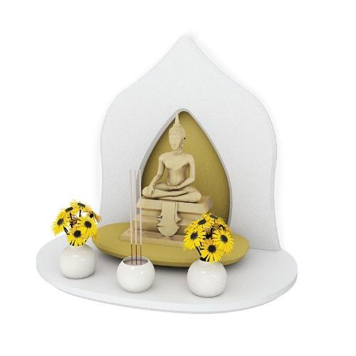 หิ้งพระหมู่ 1 Mini Buddha Shelf สีขาว
