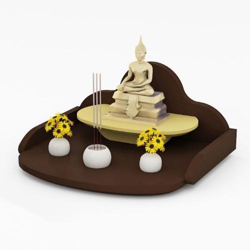 หิ้งพระแบบถาดขนาดเล็ก Mini Buddha Tray สีเอสเพรสโซ่