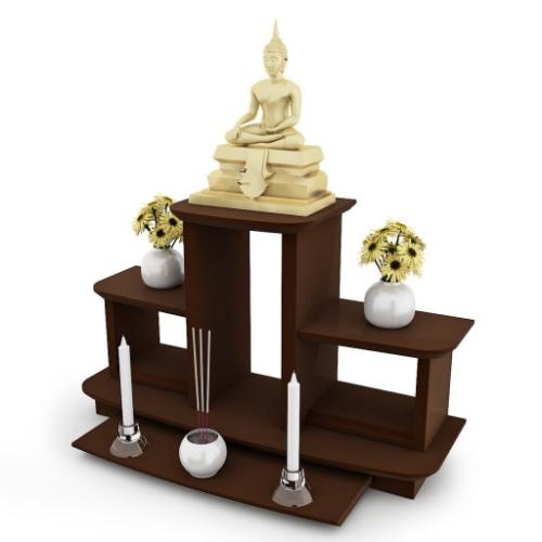 หิ้งพระหมู่ 3 Buddha Shelf สีเอสเพรสโซ่