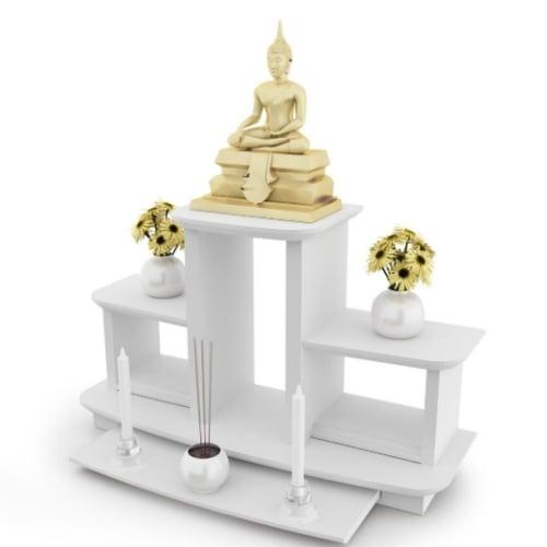 หิ้งพระหมู่ 3 Buddha Shelf สีขาว