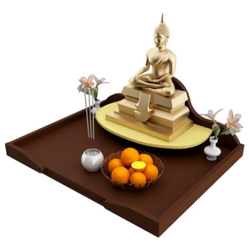 หิ้งบูชาพระ Maxi Buddha Tray สีเอสเพรสโซ่