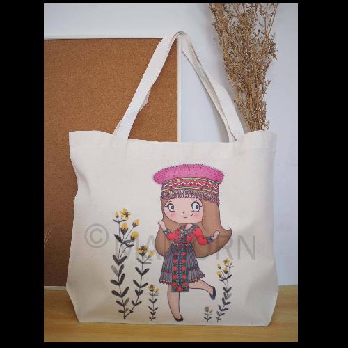 กระเป๋าผ้าลดโลกร้อนพิมพ์ลายสาวน้อยเผ่าม้ง ขนาดใหญ่ MXL04