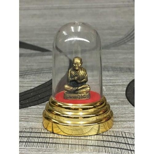 รูปหล่อ รูปปั้น หลวงปู่โต สมเด็จพระพุฒาจารย์โต ทองเหลืองแท้ องค์เล็ก พร้อมครอบแก้ว