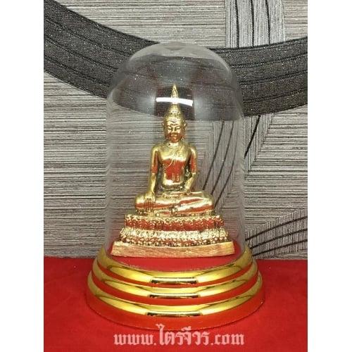 รูปหล่อ รูปปั้น พระปางมารวิชัย พระปางปราบมาร ทองเหลือง พร้อมครอบแก้ว
