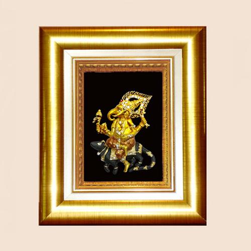 กรอบทองพระพิฆเนศ ปางเดินทางและสร้างสรรค์ พร้อมกล่องผ้าไหม