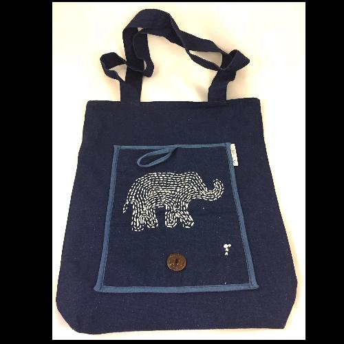 กระเป๋าลดโลกร้อนพับได้ลายปักช้าง