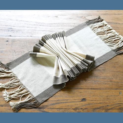 ผ้าทอสีธรรมชาติ (ย้อมมะเกลือ) โดยผู้พิการทางสายตา