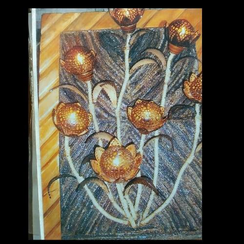 โคมไฟแก้วกะลาติดฝาผนัง 7 ดอก