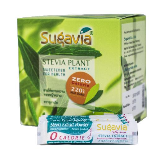 SUGAVIA สารสกัดจากหญ้าหวาน รูปแบบผง บรรจุ 60 ซอง ใน 1 กล่อง