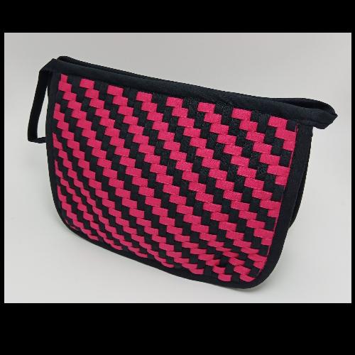 กระเป๋าผ้าสาน คละลาย (สีชมพูบานเย็น, ดำ)
