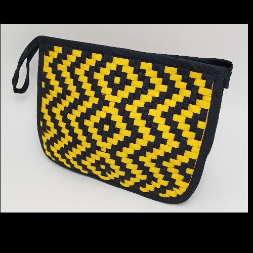 กระเป๋าผ้าสาน คละลาย (สีเหลือง, ดำ)