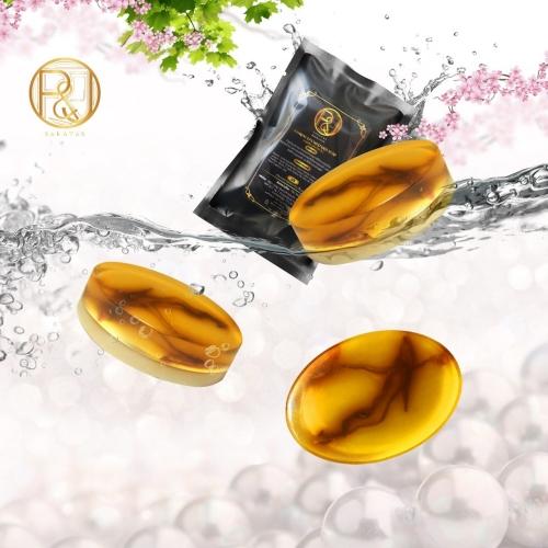 Saratas cordyceps militaris soap  สบู่ถั่งเช่า สีทอง ขนาด 90 กรัม