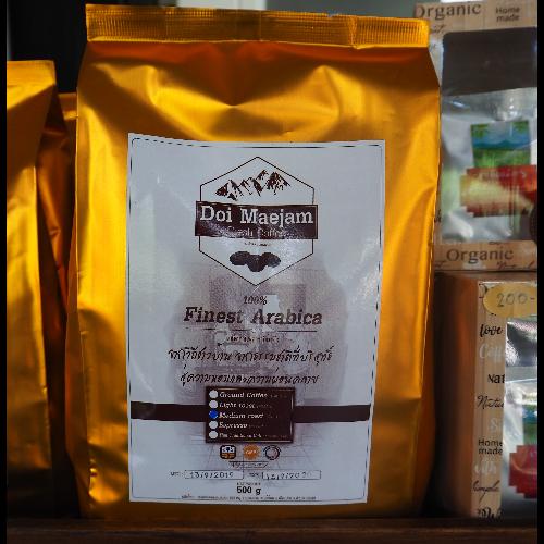 เมล็ดกาแฟคั่วดอยแม่แจ๋ม ชนิดคั่วกลาง 500 กรับ