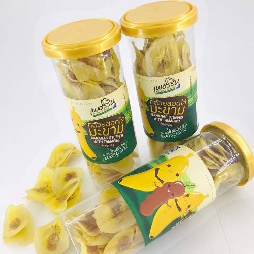 กล้วยหินไส้มะขาม น้ำหนัก 100 กรัม (1 ชุด  บรรจุ 4 กระปุก)