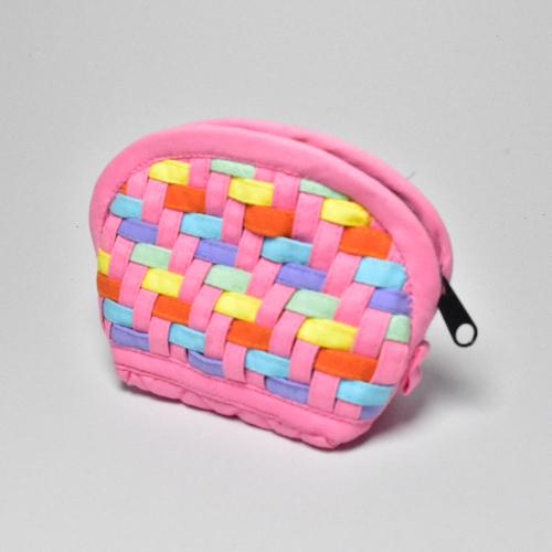 กระเป๋าผ้าสาน ใส่เหรียญ คละสี คละลาย